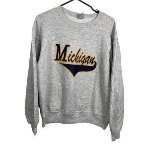 Michigan Russell Athletic Vintage Sweatshirt Mens Size L Grey Pullover